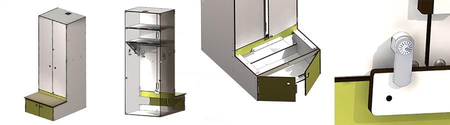 Developpement spéciaux casiers-meubles de hockey
