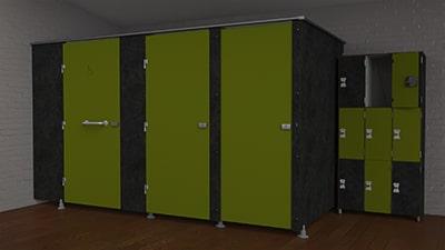 Cabines et casiers en stratifié compact - INTIMEO et VESTINEO