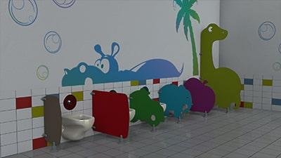 Séparations de toilettes maternelles en stratifié compact