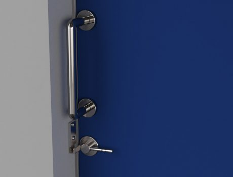 Porte COOLINEO sur mur poignée + verrou à fleau vue interieur