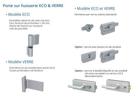 Portes huisserie - Quincaillerie modèle ECO et VERRE