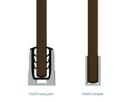 Profil U joint & U simple - coupe