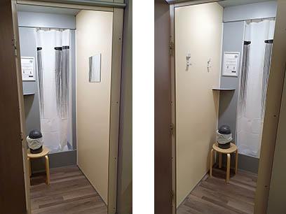 UNIK FITNESS Chambéry - Cabines SCOLA 2.5 - vue intérieure - espace de change