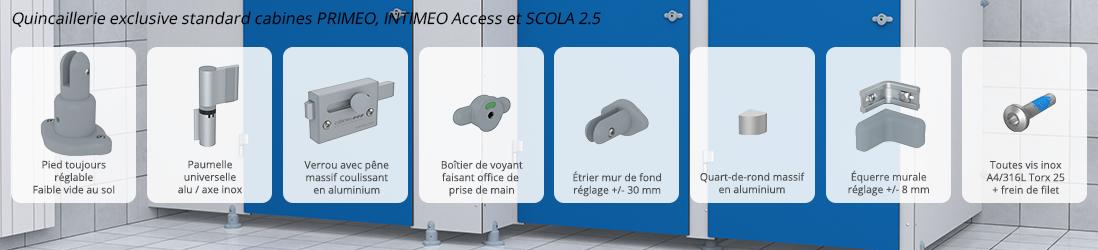 Quincaillerie exclusive Cabineo PRIMEO, INTIMEO Access et SCOLA