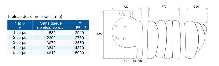 Tableau des dimensions cloisonnette CHENILLE - Cabineo