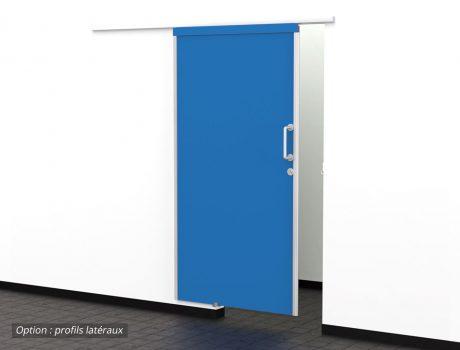 Porte COOLINEO sur mur - option profils latéraux - B001 Bleu Flash
