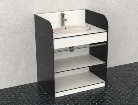 Meuble bas - vasque non fournie - coloris B070 - G082 - Cabineo - vue haut