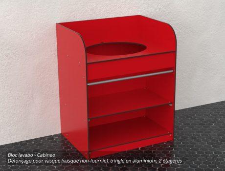 Bloc lavabo - coloris R062 - Cabineo - vue haut