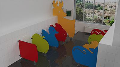 Séparations de toilettes maternelles - éco - fantaisie - design - Cabineo