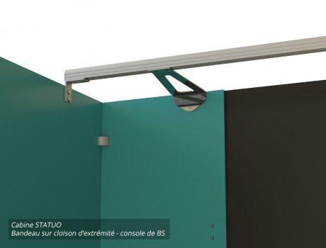 Cabines STATUO - G120 - E026 - 4-3 Bandeau sur cloison d'extrémité - console de BS