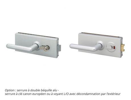 Porte sur cornières - option serrure à double béquille alu - Cabineo