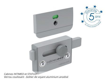 Verrou coulissant - boîtier de voyant aluminium anodisé - INTIMEO et STATUO - Cabineo